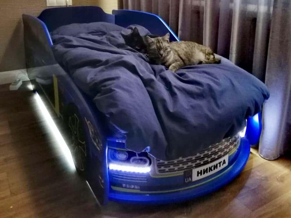 кровать машина ренж ровер синяя