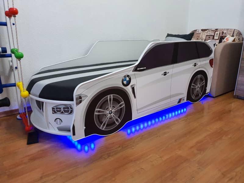 кровать машинка бмв премиум белая с подсветкой