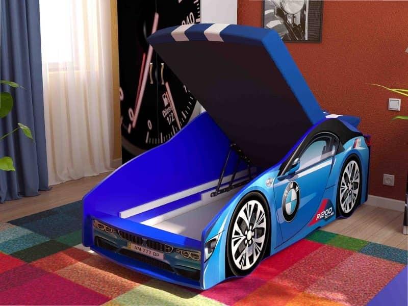 кровать машинка бмв элит синяя с подъемником