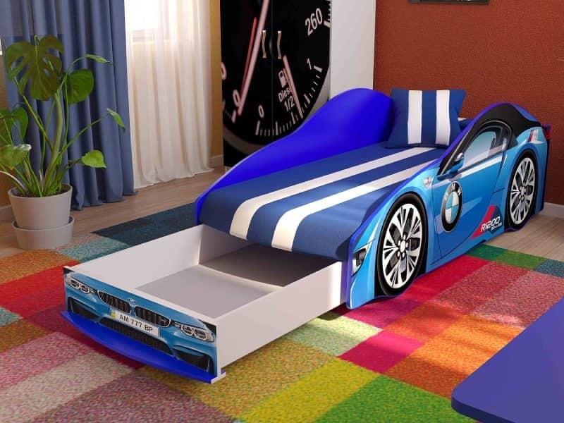кровать машинка бмв элит синяя с ящиком