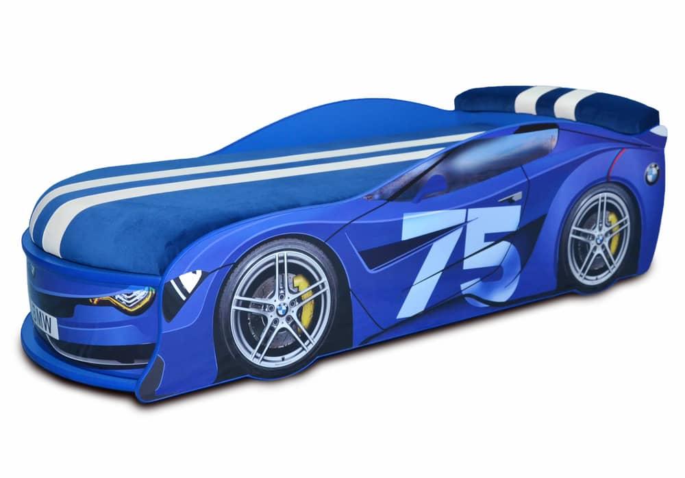 ліжко машина бмв турбо синя 75