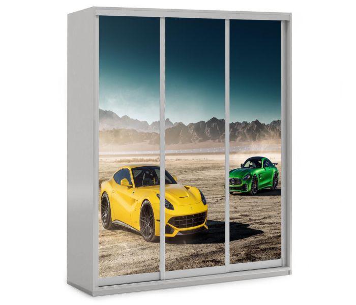 детский шкаф купе 3 двери зеленая феррари