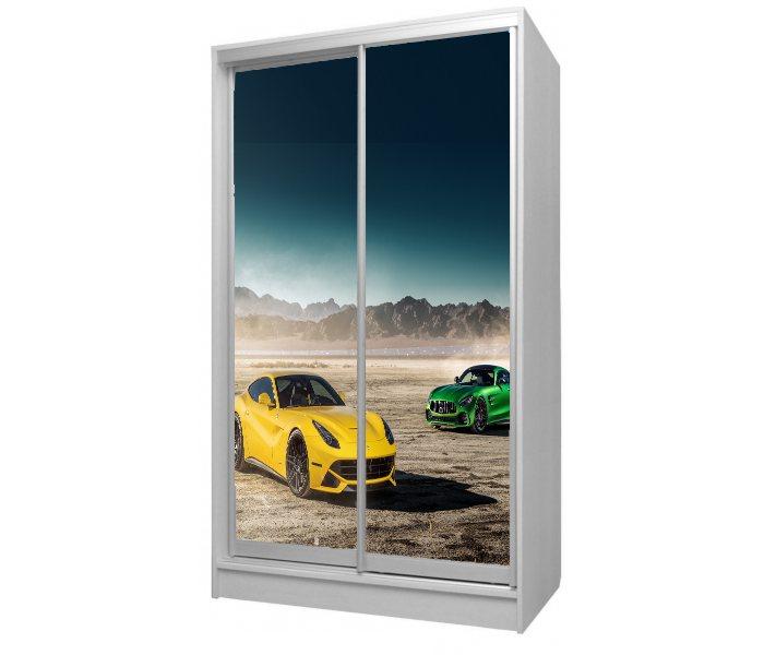 детский шкаф купе 2 двери желтый феррари