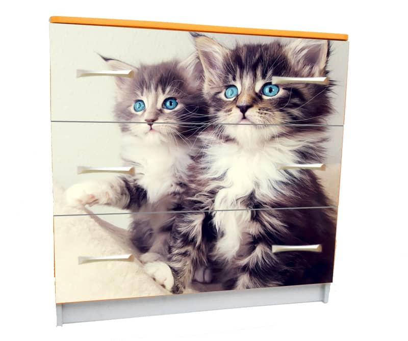 комод с 3 ящиками котики