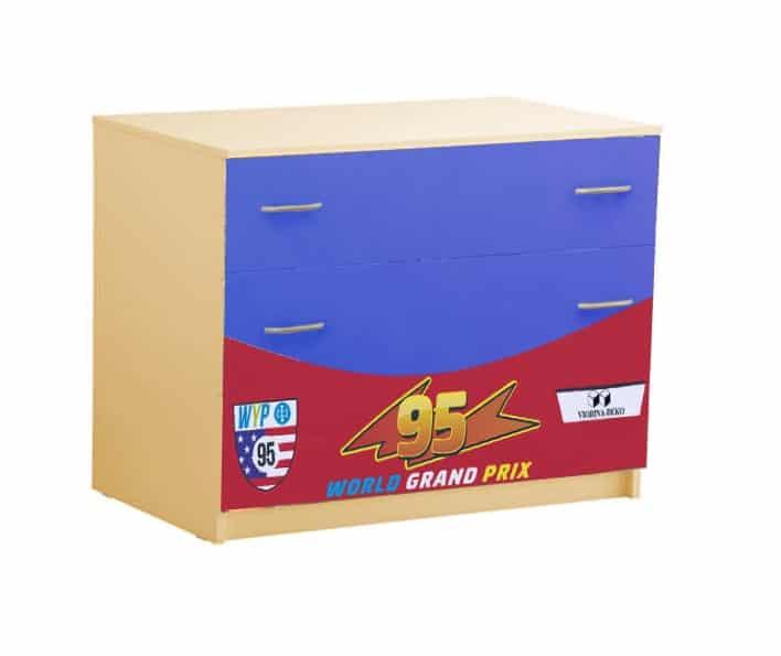 комод с 3 ящиками сине красный маквин