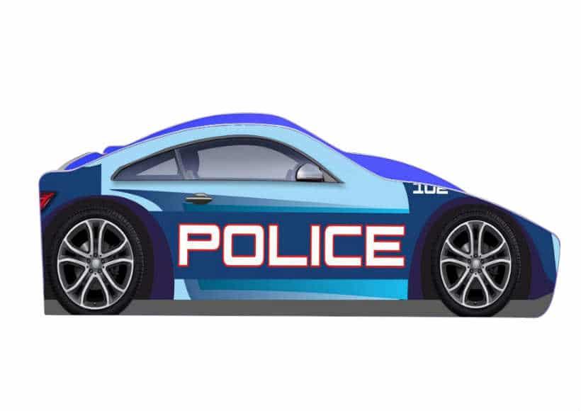 кровать машина полиция бренд синяя