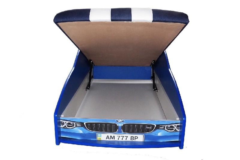 кровать машина полиция элит синяя с подъемным механизмом