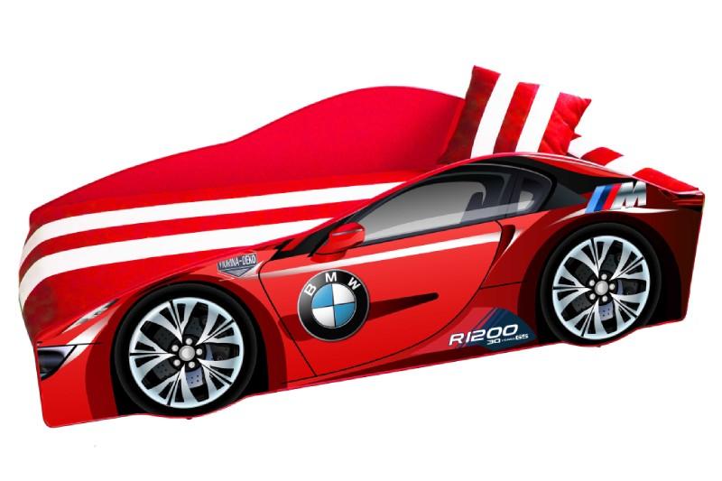 кровать машина с матрасом бмв красная