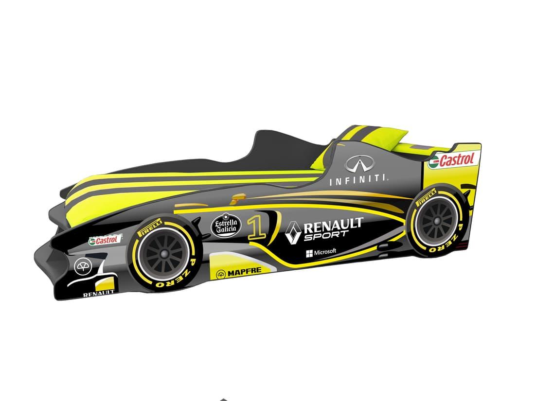 кровать машина формула 1 желтая