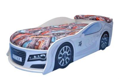 кровать машина ауди белая с матрасом