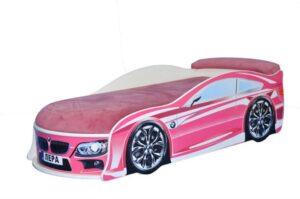 кровать машина бмв розовая с матрасом