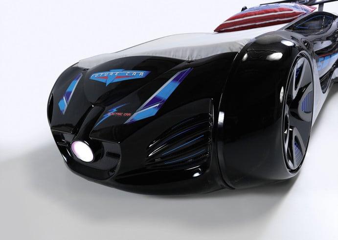 кровать машина будущего черная вип пластик