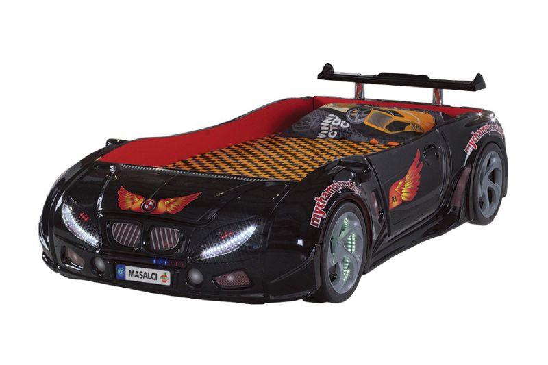 кровать машина из пластика черная формула 1