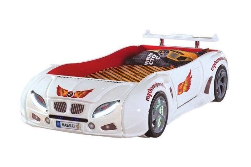 кровать машина турецкая из пластика формула 1 белая