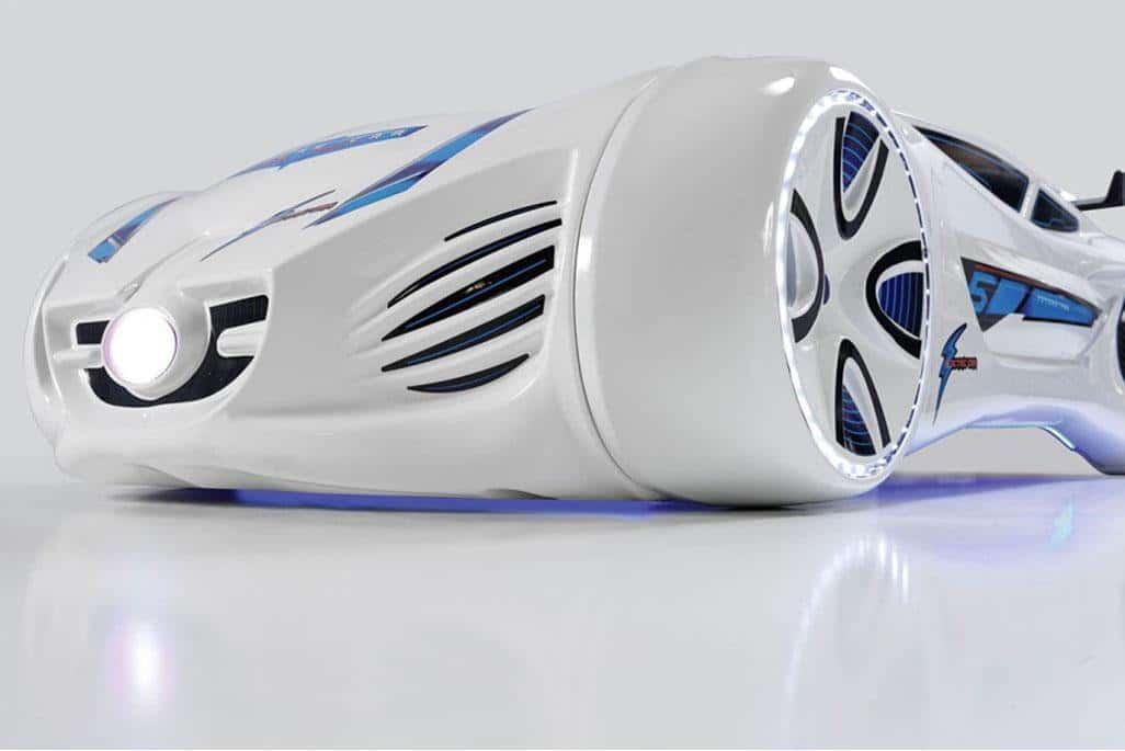 кровать машина будущего белая спереди