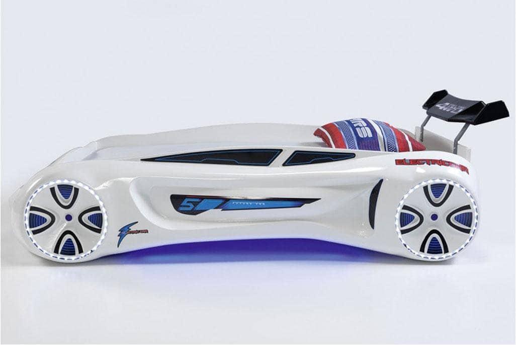 кровать машина будущего белая вип пластик