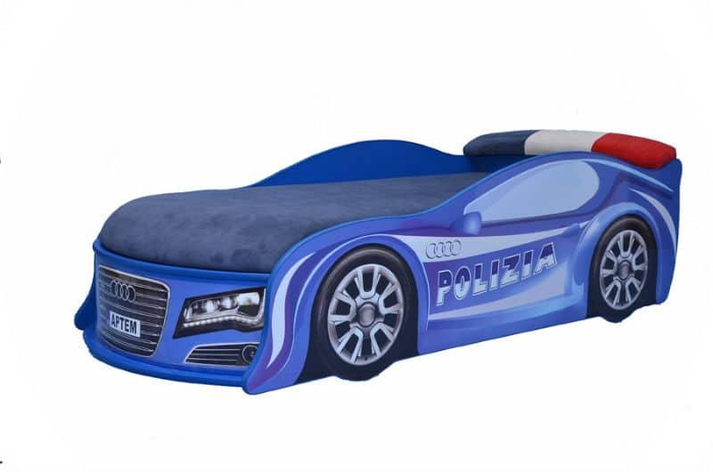 кровать машина ауди полиция с матрасом