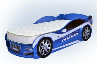 ліжечко машинка ягуар синій поліція