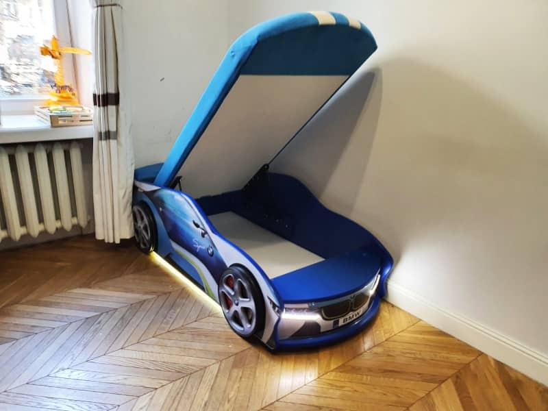 кровать машинка бмв спейс синяя с подьемником