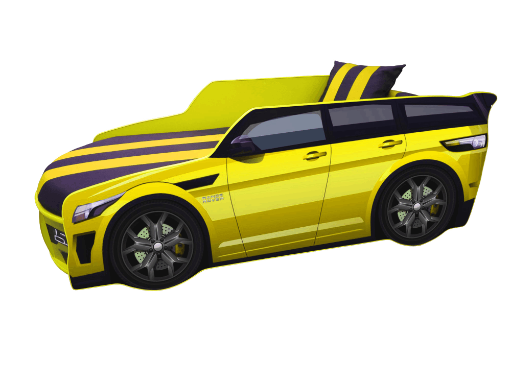 кроватка машинка ренж ровер желтый премиум