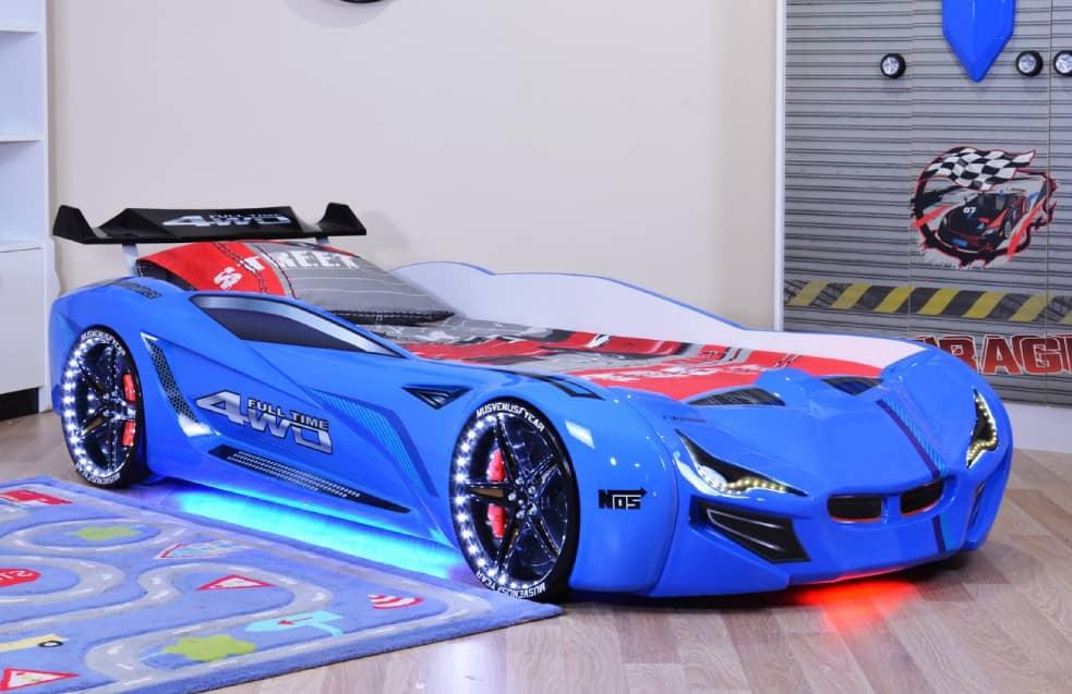 ліжко машина віп з музикою підсвічуванням блакитна бмв