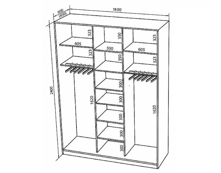 Схема шкафа на 3 двери
