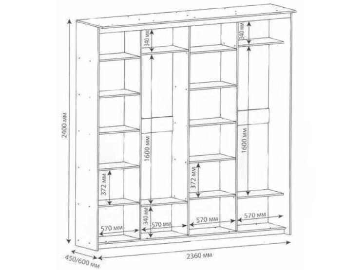 Схема шкафа на 4 двери