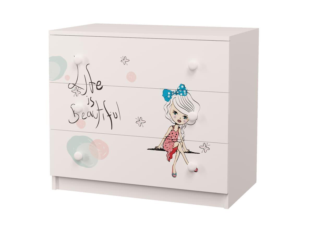 комод с 3 ящиками гламур девочка