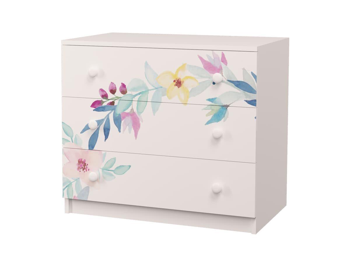 комод с 3 ящиками цветы