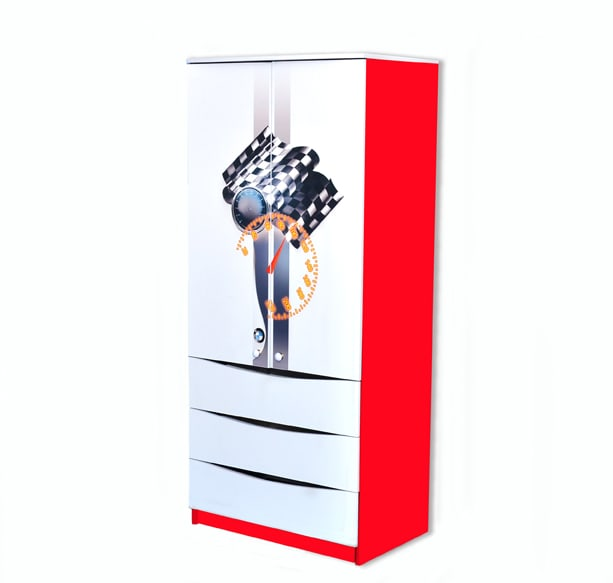 красно-белый шкаф с 3 ящиками