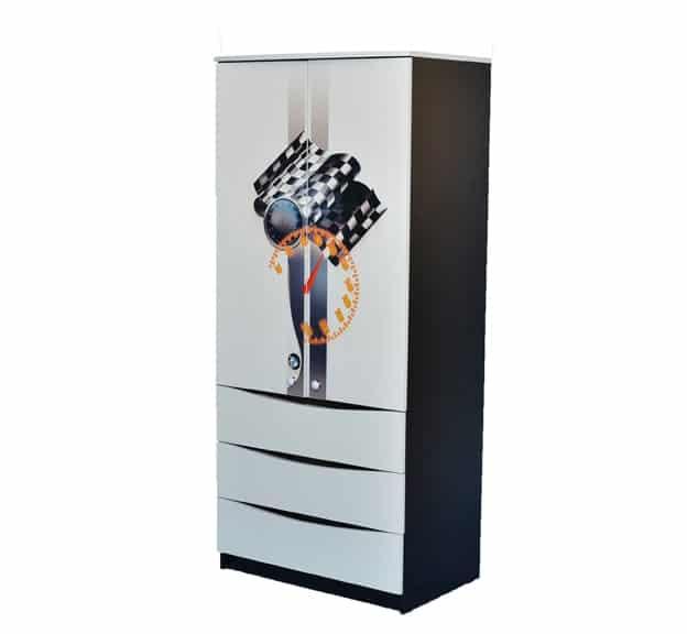 черно-белый шкаф с 3 ящиками