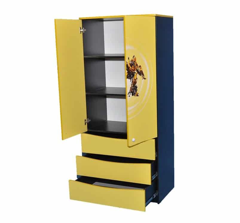 черно-желтый шкаф с 3 ящиками