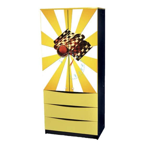 желтый шкаф с ящиками