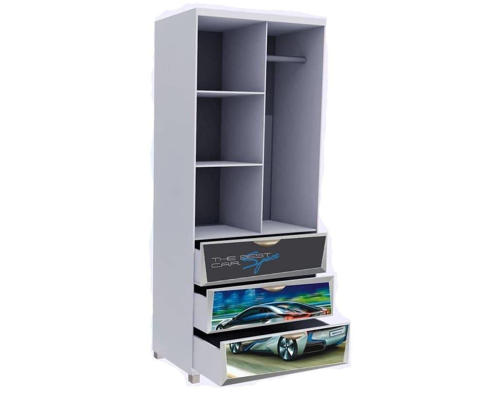 шкаф детский 3 ящика бмв со штангой