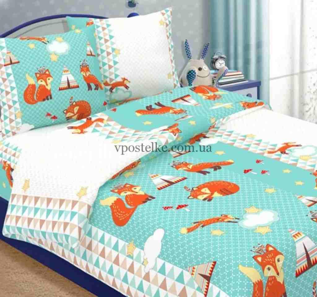 детское постельное арт дизайн лисенята
