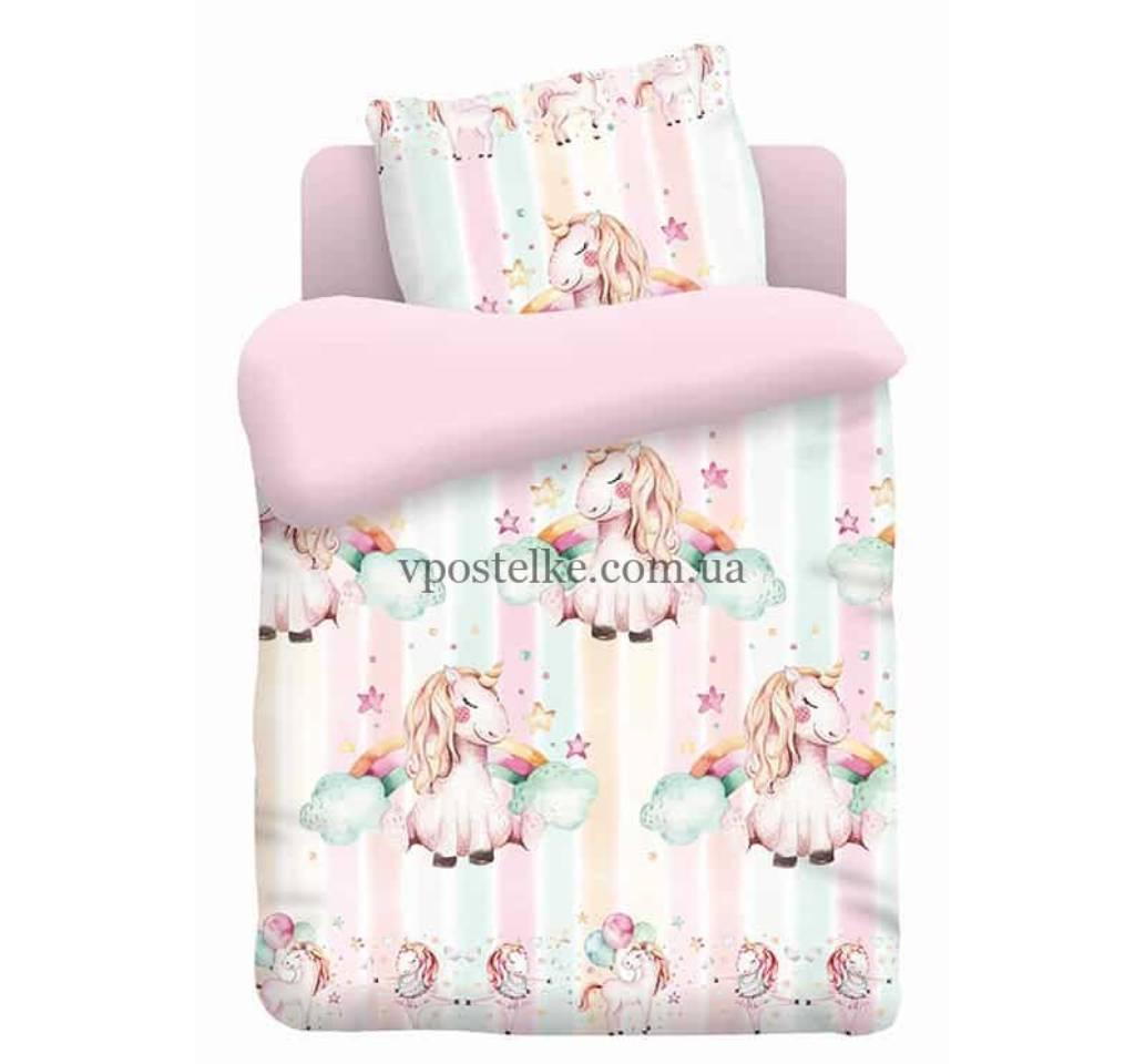 детское постельное поплин единорожка