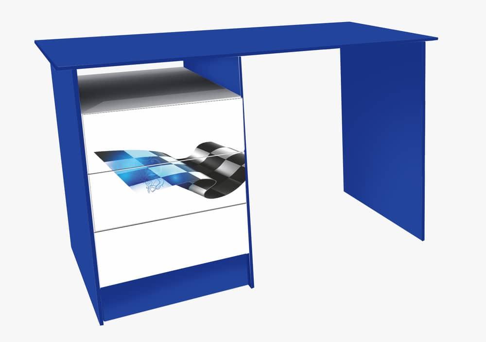 синий письменный стол с 3 ящиками
