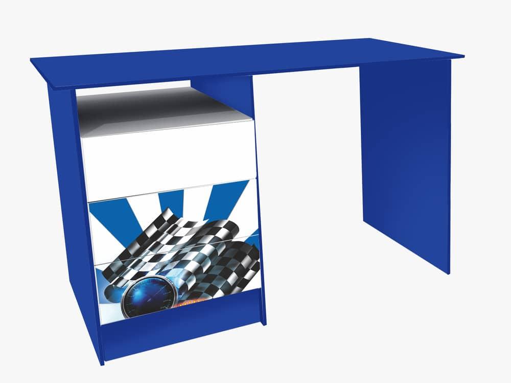 синий письменный стол