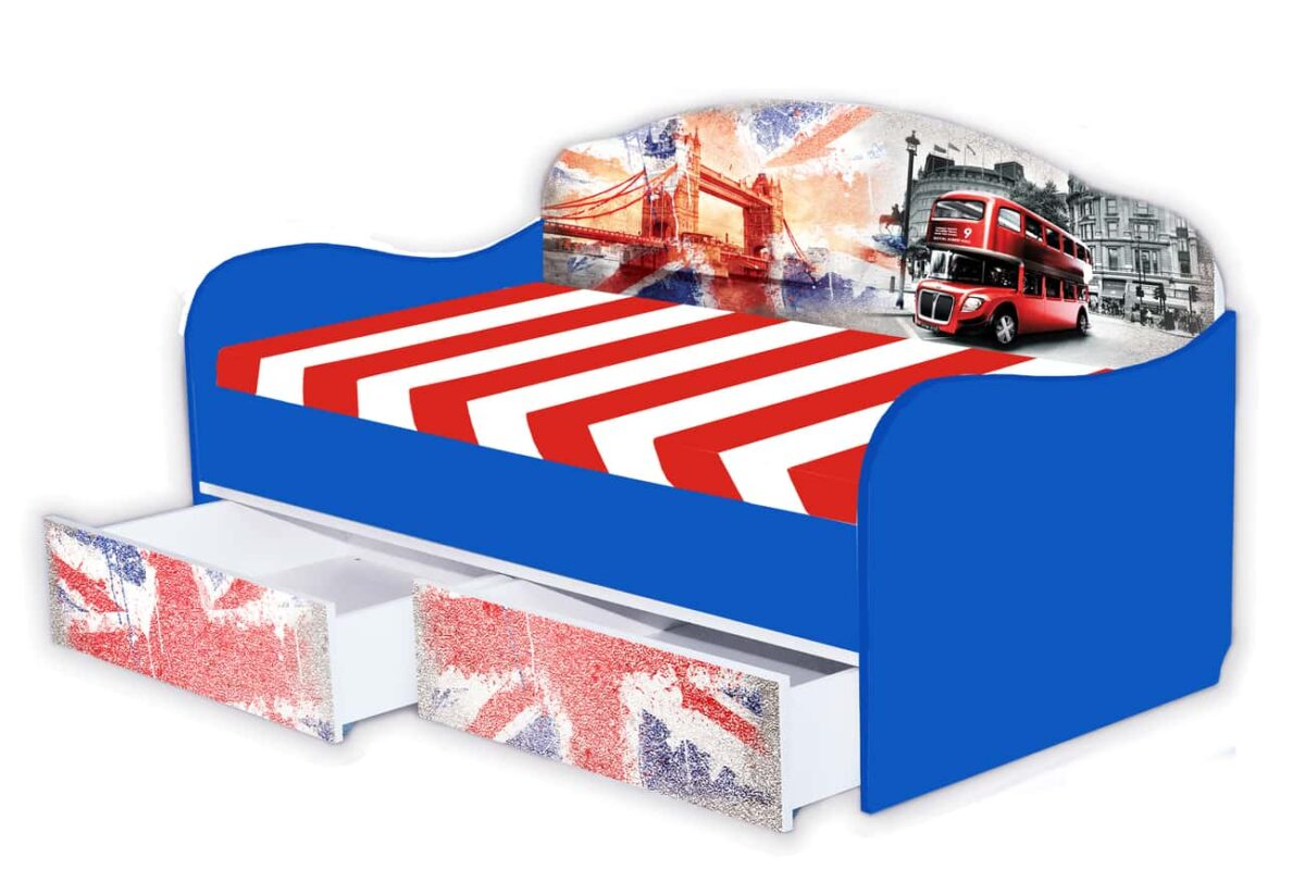 кровать диван англия синий