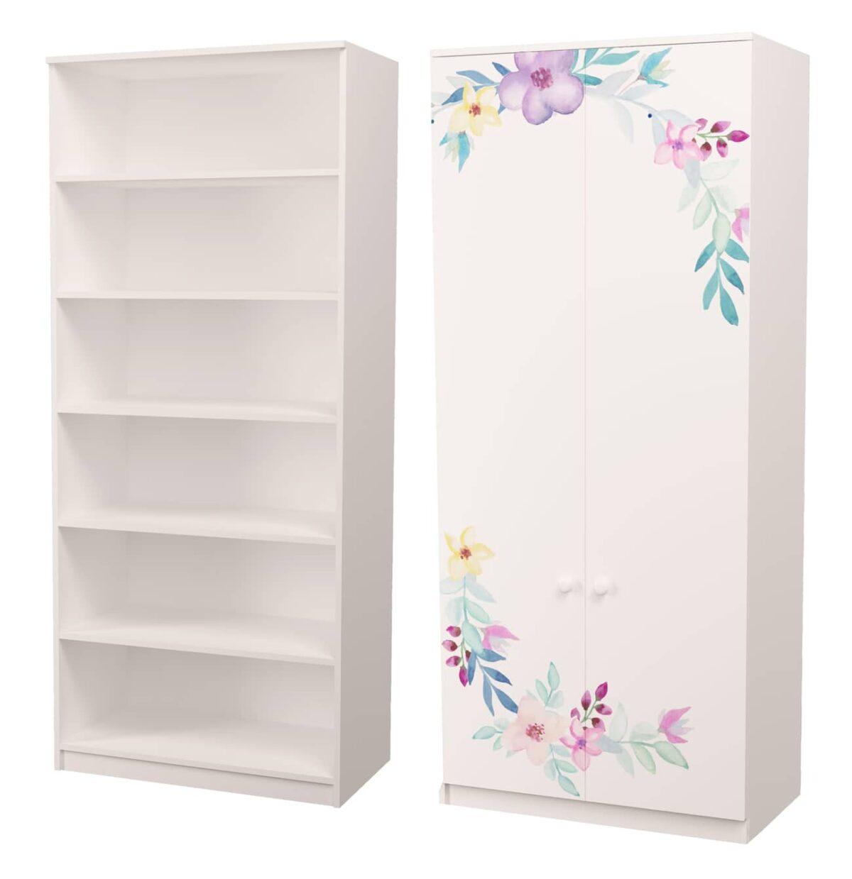 шкаф для одежды с полками цветы