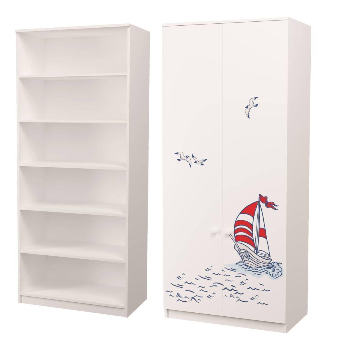 шкаф в детскую с полками корабль