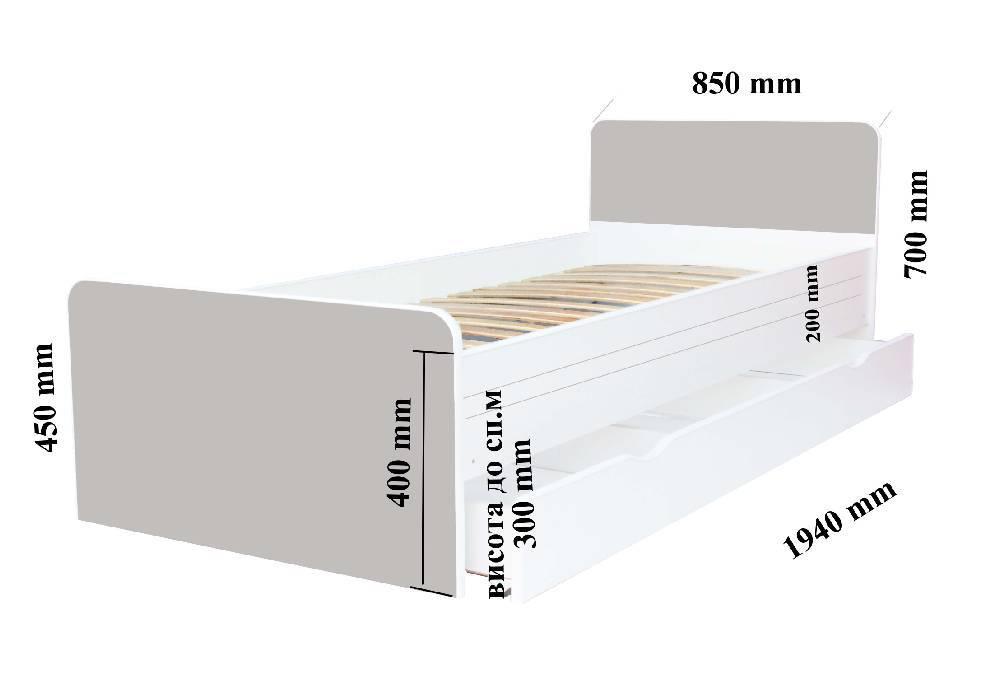 Схема размеров кровати Беверли