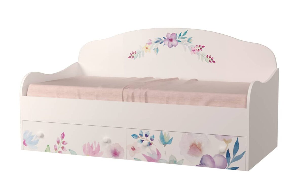 кровать диван с рисунком цветы