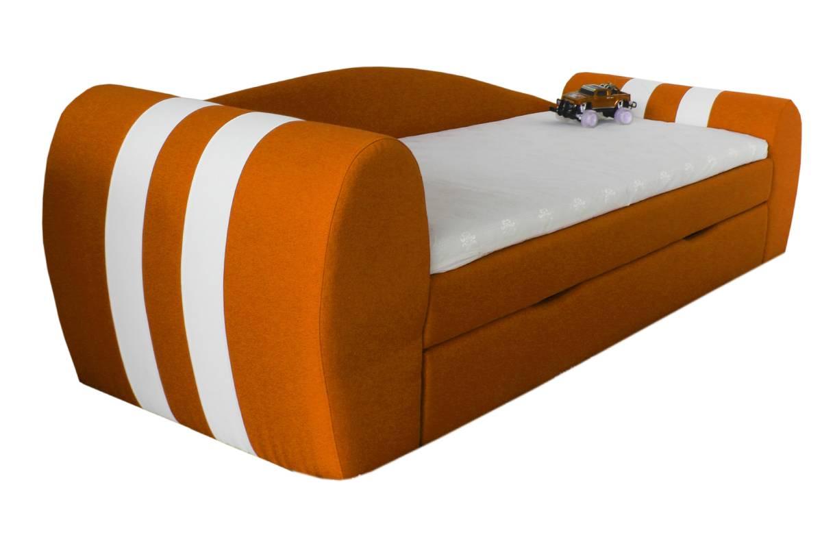 диван гранд оранжевый с ящиком сбоку