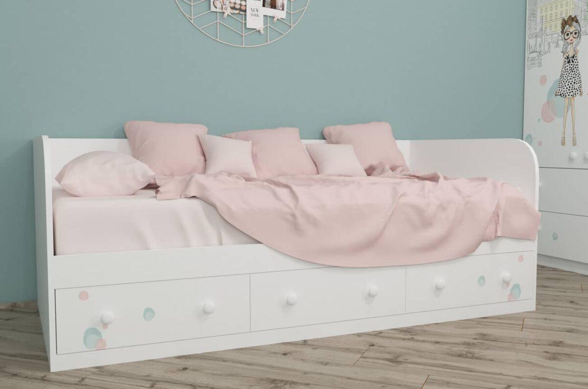 кровать диванчик гламур с 3 ящиками