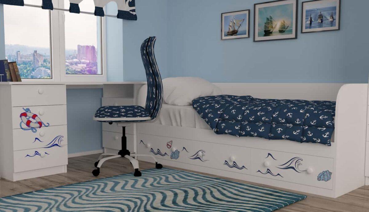 кровать диванчик корабль с 3 ящиками