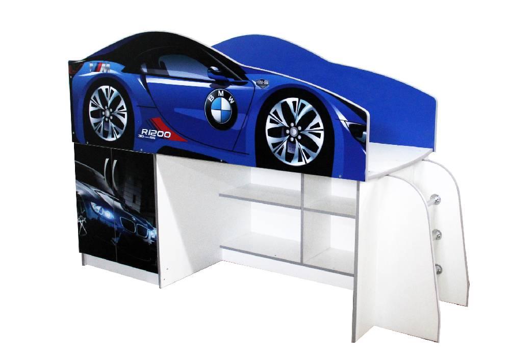 кровать комната бмв синяя