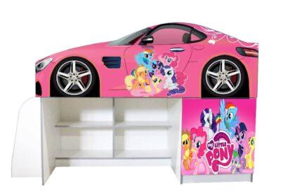 небольшая кровать чердак пони розовая