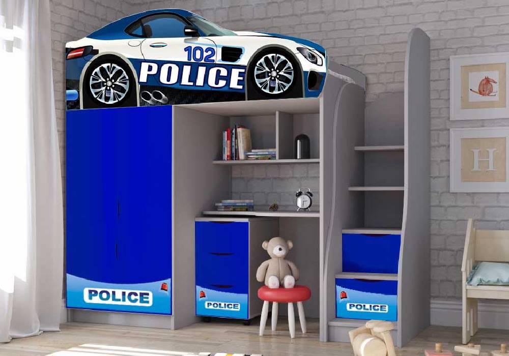 кровать чердак со столом полиция синяя бренд
