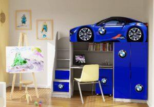 ліжко кімната зі столом бмв синя